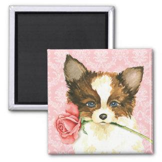 Valentine Rose Papillon 2 Inch Square Magnet