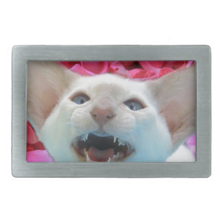 Valentine Rose Petal Hissing Cat Rectangular Belt Buckle