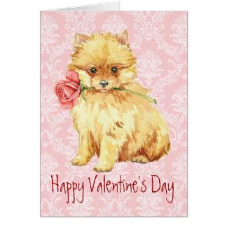 Valentine Rose Pomeranian Card