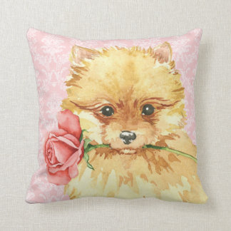 Valentine Rose Pomeranian Throw Pillow