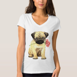 Valentine Rose Pug T-Shirt