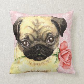 Valentine Rose Pug Throw Pillow