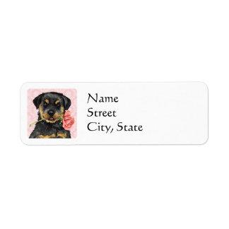 Valentine Rose Rottweiler Label