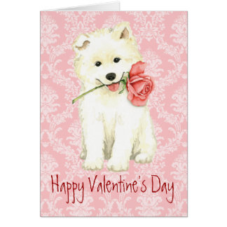 Valentine Rose Samoyed Card
