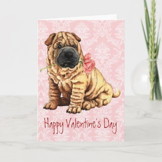 Valentine Rose Shar-Pei Greeting Cards