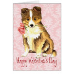Valentine Rose Sheltie Greeting Card