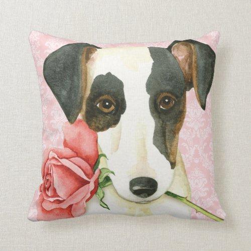 Valentine Rose Fox Terrier Throw Pillow