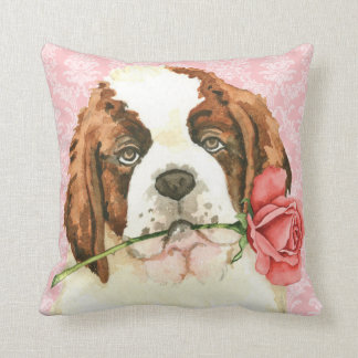 Valentine Rose St. Bernard Throw Pillow