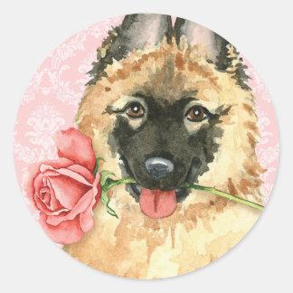 Valentine Rose Tervuren Classic Round Sticker