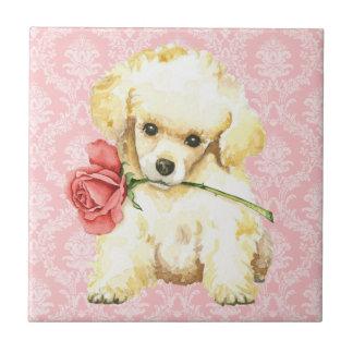 Valentine Rose Toy Poodle Ceramic Tile