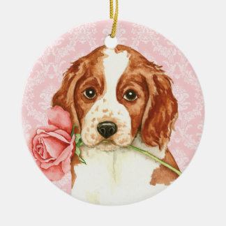 Valentine Rose Welshie Ceramic Ornament