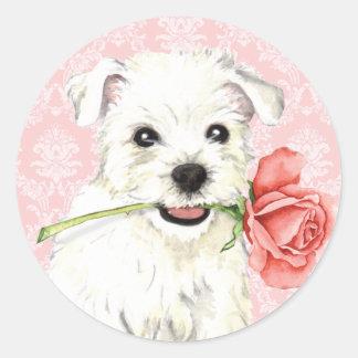 Valentine Rose Westie Classic Round Sticker