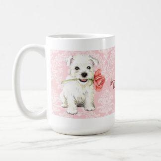 Valentine Rose Westie Coffee Mug