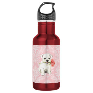 Valentine Rose Westie Water Bottle