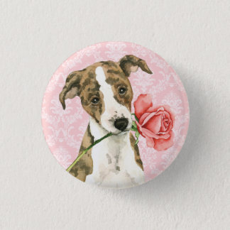 Valentine Rose Whippet Pinback Button