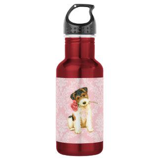 Valentine Rose Wire Fox Terrier Stainless Steel Water Bottle