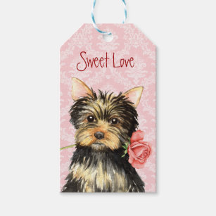 Valentine Rose Yorkie Gift Tags
