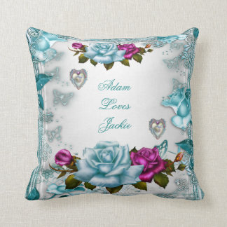 Valentine Roses White Blue Teal Pink Floral Throw Pillow