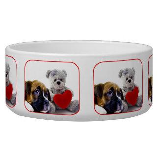 Valentine s boxer puppy dog water bowl