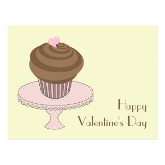 Valentine s Day Chocolate Cupcake Pink Cake Stand Postcards