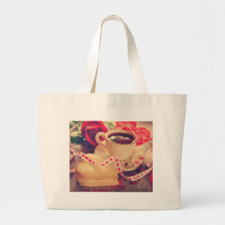 Valentine' S Day: Coffee & Chocolate Fifteen Large Tote Bag