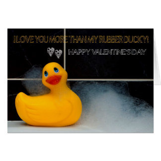 Valentine s Day Fun With Orange Rubber Ducky Greeting Card