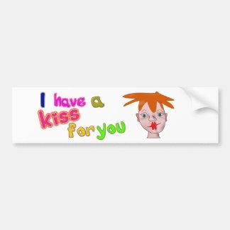 Valentine's Day funny kiss Bumper Sticker Car Bumper Sticker