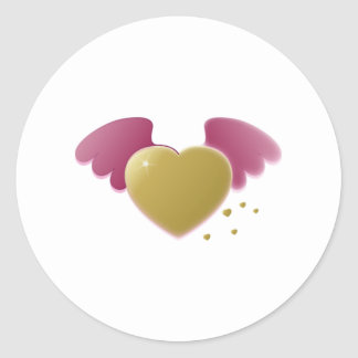 Valentine s Day Heart with Wings Round Sticker