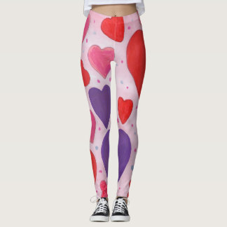 Valentine's Day Hearts in Pink, Purple & Red Leggings