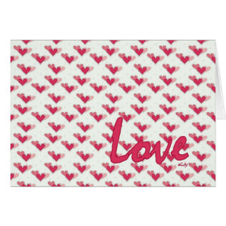 Valentine's Day Love Hearts on White Greeting Card