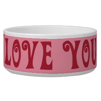 Valentine s Day Love You Pink Red Stripes Gifts Dog Bowls