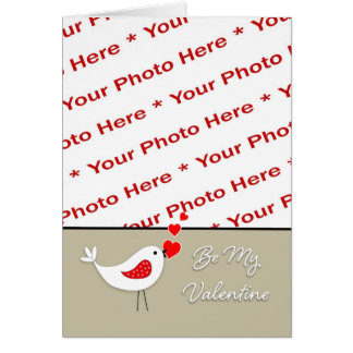 Valentine s Day Photo Card-Cute Bird with Hearts