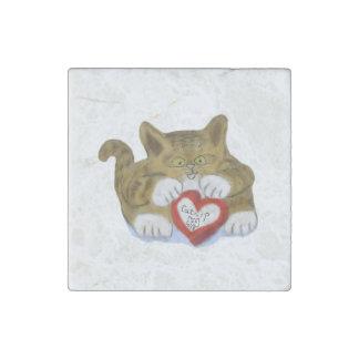 Valentine's Day Present for Tiger Kitten Stone Magnet