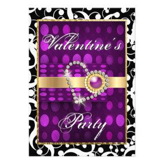 Valentine s day purple black elegant heart invitations