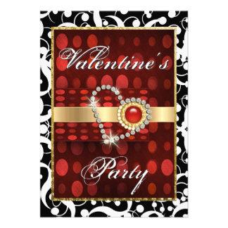 Valentine s day red black elegant heart personalized invite