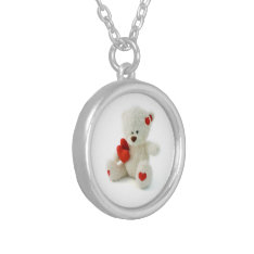 Valentine's Day Teddy Bear Necklace at Zazzle