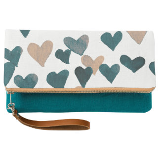 Valentine's Day Watercolor Hearts – neutral Clutch