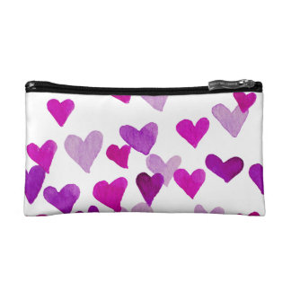 Valentine's Day Watercolor Hearts – purple Makeup Bag