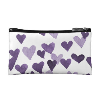 Valentine's Day Watercolor Hearts – ultra violet Makeup Bag