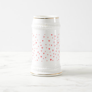 Valentine's Girly Pink Love Hearts Pattern Beer Stein