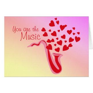 Valentine Saxophone Hearts Card