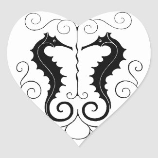 Valentine Seahorses Sticker