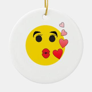 Valentine Smiley Ceramic Ornament