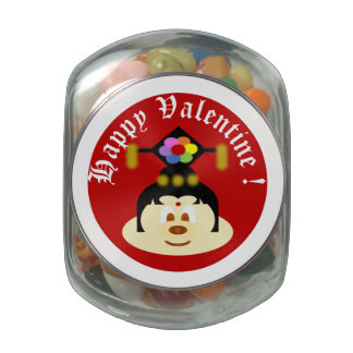 Valentine Souvenir - Chinese Female Hat 鲍 鲍 Jelly Belly Candy Jar