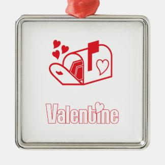 Valentine Square Metal Christmas Ornament