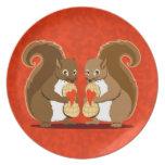 Valentine squirrels dinner plates