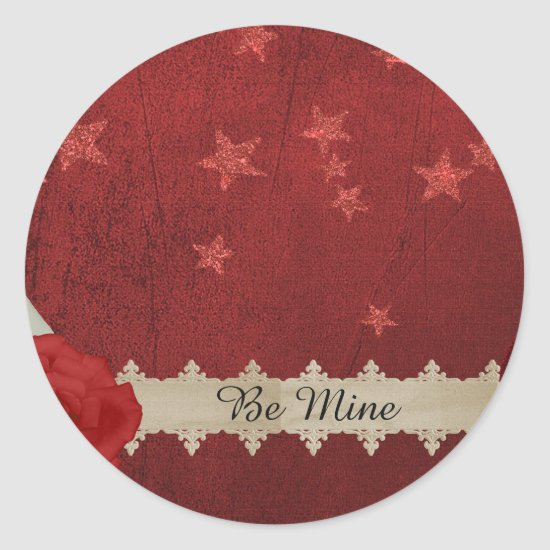 Valentine Stars and Roses Classic Round Sticker