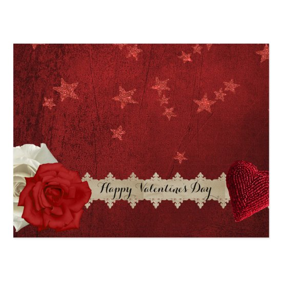 Valentine Stars and Roses Postcard