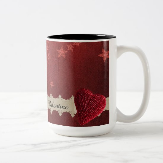 Valentine Stars and Roses Two-Tone Coffee Mug