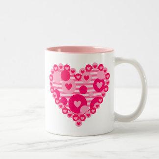 Valentine Stripe Dot Heart Two-Tone Coffee Mug